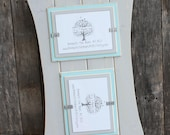 Picture Frame - Distressed Wood - Curved Sides - Holds 2 - 5x7 Photos - One Horizontal and One Vertical -  Light Gray & Sky Blue