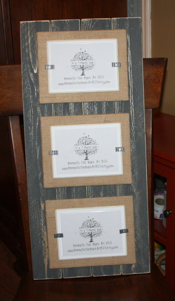 triple 5x7 picture frame distressed wood double mats. Black Bedroom Furniture Sets. Home Design Ideas
