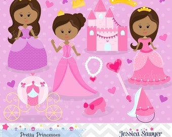 INSTANT DOWNLOAD - African American Princess Clipart and Vectors for personal and commercial use