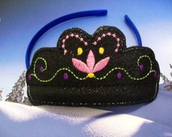 Child's Satin Headband Slider - Anna - Frozen - glitter - embroidered Headband