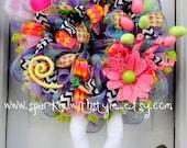 VeRY LiMITED AvAILABILITY!!! Fluffy Bunny Wreath - Deco Mesh Wreath -Alice In Wonderland- Top Hat Bunny Wreath - RAZ wreath - Bunny Legs