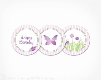 Butterfly Cupcake Toppers Purple - Flower Garden Party - Instant Download Printable - Girl Butterfly Birthday Party Decoration Circle Tags