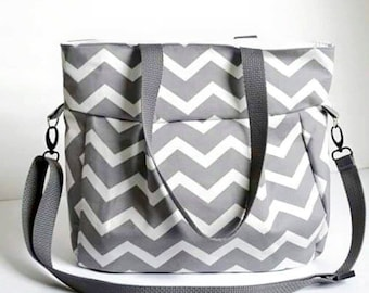 Medium Diaper Bag in Gray Chevron print / changing pad / Beach Bag / Tote / Purse / Bag / Purse / Crossover shoulder bag