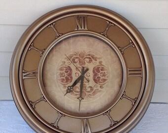 "Large Metallic Antique Bronze Wall Clock - 22"" Wide"