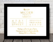 Family Address and Quote Print - Gold fill