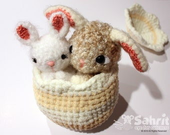 Special SALE Instant Download PATTERN Pearls and Bubbles the Bunnies in Easter Egg Gift Crochet Amigurumi Rabbit