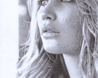 "Print - Jennifer Lawrence pencil drawing - sizes 8"" x 12"" to poster"