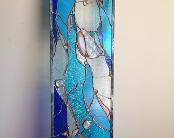"""Stained Glass Abstract  Transom Window Suncatcher Panel Valance 35""""x10"""""""