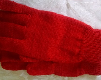 Hand-knitted Red Gloves