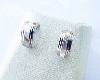 White & Rose Gold Hoop Stud Earrings- 9ct 375 Art Nouveau Etched Design