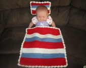 Pink, White and Blue Baby Doll Blanket and Pillow Set