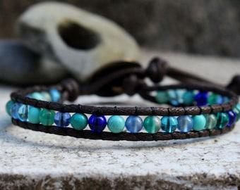 Ocean Wrap Bracelet, Single Wrap Bracelet, Vegan Wrap Bracelet, Beaded Wrap, Vegan Jewelry, Ocean Colors, Vegan Jewelry, Gifts under 20