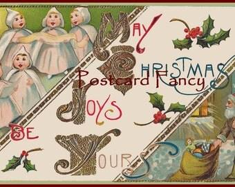 Charming DIGITAL Download VINTAGE Christmas POSTCARD, Carolers and Santa