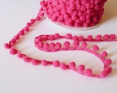 Small Baby Pom Pom Bobble Trim in fushia PINK 8mm wide pom poms - by the metre