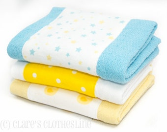 Baby Burp Cloths - Yellow and Blue Ducks and Stars Burp Cloths Set of 3 - READY TO SHIP