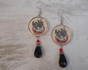 pirate queen renaissance crystal drop  charm earrings