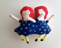 Lidia and Vivian Circus Sideshow Siamese Twins Art Plush Doll Handmade and Painted OOAK