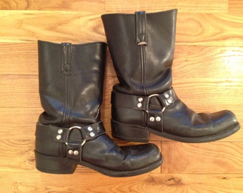 Vintage Harness Boots / Men's 8, Women's 10  / Motorcycle Boots