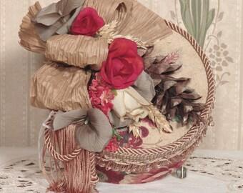 Victorian Hat Box /Keepsake-Trinket Handmade Vintage Style Fortuna Fabric FB-20