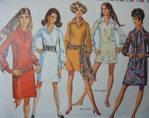 vintage 1960s Simplicity sewing pattern 8333 V neck dress with pointed collar size 12