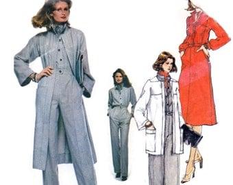1980s Designer Pattern Vogue Paris Original 1519 Emanuel Ungaro Dress, Coat in 2 Lengths & Jumpsuit, Vintage Sewing Pattern Bust 32.5