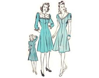 1940s Dress Pattern Advance 2729, Princess Seam Dress, Front Zipper, Cuff Sleeve & Collar Options, Vintage Sewing Pattern Bust 30 Uncut
