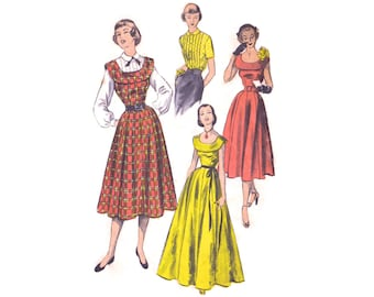 1950s Evening Gown Pattern Advance 5683, Sleeveless Jumper Dress with Wide Round Collar, Pintuck Blouse, Vintage Sewing Pattern Bust 30