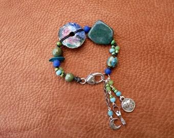 Boho Gypsy Woven Bracelet with Charms, Raku Disc bead, Tribal Fusion, Prosperity Bracelet, Jasper, Charm Bracelet, Burning man, Wicca, Pagan