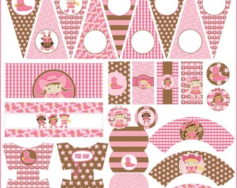 Cowgirl Birthday Party Printables PDF - Printable Party Supplies - Pink Cow Girl Birthday DIY