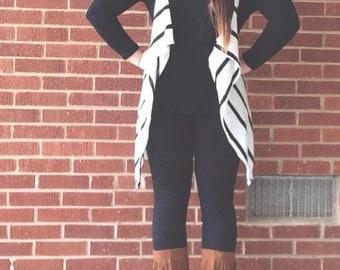 White Stripe Scarf Vest 5-in-1