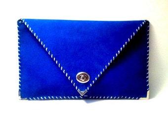 Electric blue leather clutch / Handmade leather bag / Envelope clutch / Envelope bag