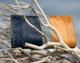 Python Clutch Bag - Evening Envelope Purse or Bag in Python snake skin three colors blue -grey- yellow Colorblock