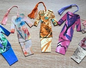 RESERVED for Mary O'Brien - 13 pieces of assorted Malaysian Traditional Baju Kurung Fabric Bookmark