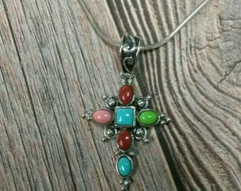 SALE! Gorgeous sterling silver 925 cross pendant with multicolored stones on an 18 inch sterling silver chain 20% off