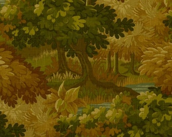 Dark Green Gold Scenic Linen Upholstery Fabric - Forest Green Fabric with Trees - Copper Gold Pillow Covers - Scenic Curtains Roman Shades