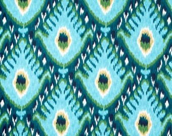 Turquoise Ikat Upholstery Fabric - Large Scale Ikat Curtain Fabric - Custom Ikat Roman Shade and Curtains - Custom Turquoise Pillows