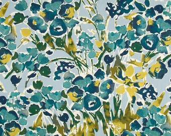 Abstract Floral Upholstery Fabric - Digital Print Fabric - Heavyweight Cotton - Modern Teal Drapery Material - Blue Yellow - Home Decor