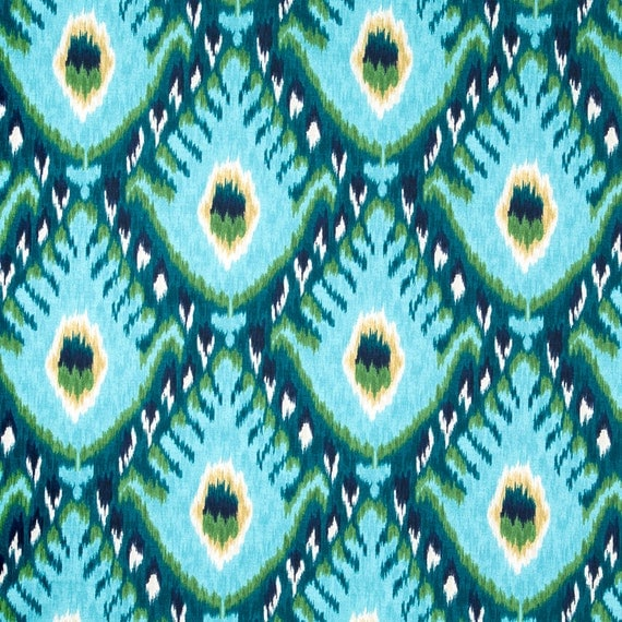 Turquoise Ikat Upholstery Fabric Large Scale Ikat Curtain