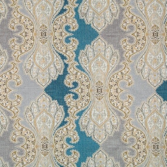 Blue Damask Upholstery Fabric - Lavender Fabric for Furniture - Large Scale  Damask for Dining Room Chairs - Custom Blue Purple Pillow Covers from ...