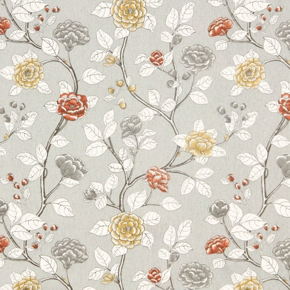 Grey Floral Cotton Upholstery Fabric Orange Grey Linen