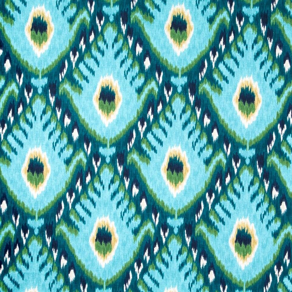 Turquoise Ikat Upholstery Fabric Large Scale Ikat Curtain