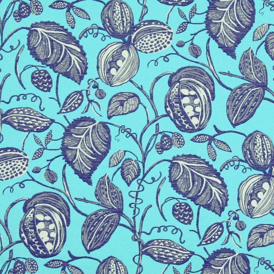 turquoise navy blue upholstery fabric with leaves turquoise. Black Bedroom Furniture Sets. Home Design Ideas