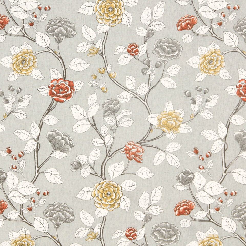Grey Floral Cotton Upholstery Fabric Orange Grey Linen Curtain Contemporary Floral Roman