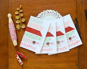 SALE! Valentine Washi Mini Cards with Glassine Envelopes Set of 4 Valentine's Day Red Aqua Pink