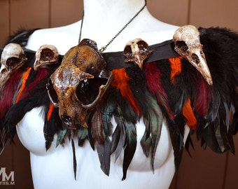 Animal-friendly Voodoo inspired Feathered Faux Cat skull collar  Mortiis.M