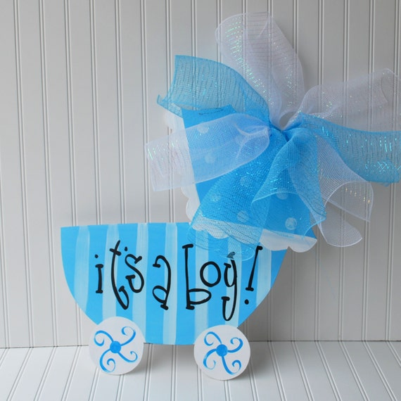 Baby boy hospital door decoration baby carriage baby boy for Baby hospital door decoration