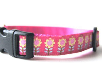 Pink Flowers Dog Collar Adjustable Sizes (XS, S, M)