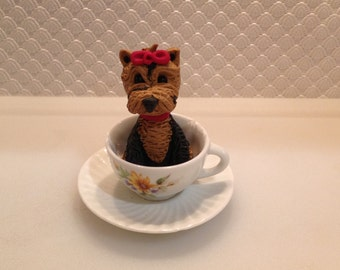 Polymer clay Yorkie, handmade Yorkshire Terrier, Christmas gift idea, ooak, teacup Yorkie, polymer clay dogs, custom dogs