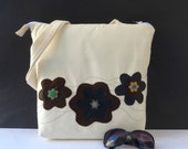 white purse shoulder bag floral white bag  flowers applique bag