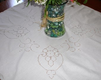 French Linen Table cover with Cutwork, Fluer De LIs cutwork,  alter cover for wedding , French whites, French vintage decor